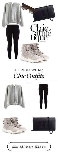 """Chic athlétique"" by matariamakeup on Polyvore featuring NIKE, WithChic, New Look, Yves Saint Laurent and CÉLINE"
