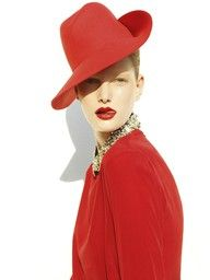 Ylonka Verheul by Emilio Tini for Flair, August 2011 #fashion #hats #red #lips