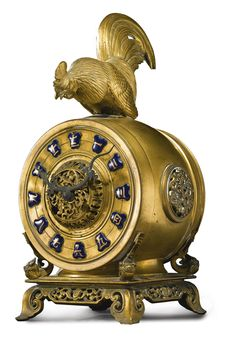 Susse Frères A Japanesque gilt bronze mantel clock surmounted by a rooster Paris, circa 1900 Estimate  5,000 — 7,000  USD