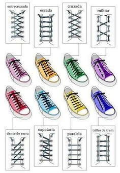 Different ways to tie shoe laces