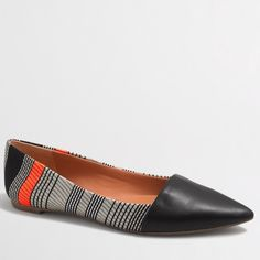 NEW in Box -- J Crew Striped Amelia Flats size 6.5 NEW in box (still wrapped!) -- I adore these Amelia Textured Stripe Flats and I think you will too! A solid, leather pointed toe caps a striped champagne, black, and orange body of the shoe. Fun print! Size 6.5 J Crew Factory⭐️Best in Shoes and Boots Host Pick J. Crew Shoes