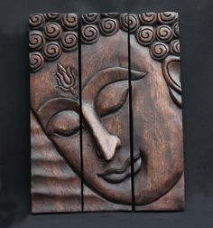 Hand Carved Wood : The Buddhau0027s Face. A Wall Art Hanging Panels. Home  Decoration