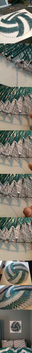 DIY volleyball nail and string art part 2. Tessa.