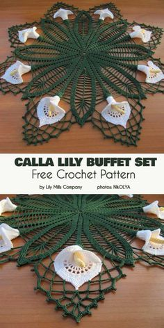 Calla Lilly Buffet Set Free Crochet Pattern – Crochet and Knitting Patterns Crochet Dollies, Crochet Diy, Thread Crochet, Crochet Crafts, Crochet Flowers, Crochet Projects, Diy Crafts, Free Crochet Doily Patterns, Crochet Motifs