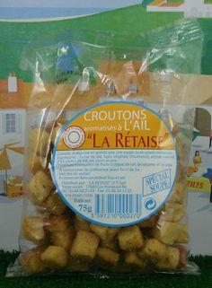 Croûtons à  l'ail - Ingrédients principaux : farine de blé, huile végétale de tournesol (sans huile de palme), arôme naturel d'ail, gluten de blé, sel, sucre, levure. Disponible sur www.terroir-des-charentes.com