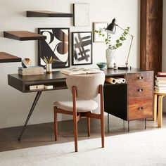 Lofty, with legroom. The angular side leg of our Lloyd Desk lets you stretch your legs out while a wide cubby and stacked drawers provide plenty of storage space. Shop west elm collection at westelm.com now.