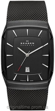 Skagen 'Titanium' Rectangular Watch, x Skagen Watches, Big Watches, Best Watches For Men, Luxury Watches For Men, Unique Watches, Simple Watches, Titanium Watches, Mesh Bracelet, Men Accessories