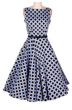 Sweet Vintage Boat Neck Polka Dot Print Sleeveless Dress For Women #Vintage #Style #Polka #Dot #Dress #Fashion
