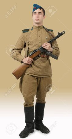 Young Paratrooper Soviet Soldier With Machine Gun, Ww2 Stock Photo, Picture And Royalty Free Image. Image 65532872.
