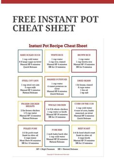 cooking tips - Instant Pot Cheat Sheet Instapotrecipes HealtyRecipes cheat healtyrecipes instant instapotrecipes sheet Power Pressure Cooker, Instant Pot Pressure Cooker, Pressure Cooker Recipes, Pressure Cooking, Slow Cooker, Pressure Pot, Instant Cooker, Power Cooker Recipes, Digital Pressure Cooker