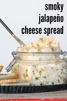 Jalapeño Cheese Spread, a little smoky and little spicy, is a 'pimento-less' Pimento Cheese appetizer! It is an easy to make appetizer recipe and perfect when spread on crackers or little rye toasts. Smoked Gouda Cheese, Jalapeno Cheese, Easy To Make Appetizers, Easy Appetizer Recipes, Dip Recipes, Roasted Olives, Easy Cheese, Cheese Appetizers