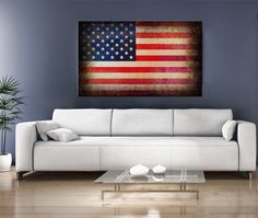 16x10 Digital printed Canvas old USA flag to your wall, Art old American flag (size: 16x10 inch plus border).