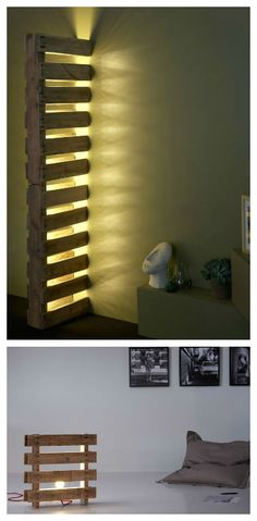 Alternative pallet lights #Light, #PalletLamp, #RecycledPallet