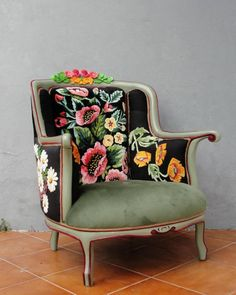 Bohemian Embroidery Armchair Flowers and Woodwork Magical