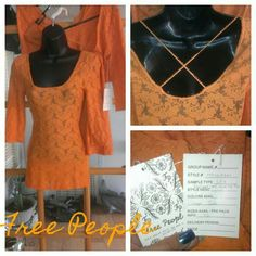 2 for $30-Free people scalloped lace top Only 2 left!!!Orange soda is the color by Free People...3 available, price is for 1...runs small & doesn't stretch!!!*****!...these are designer samples. Some may not have tags. Paper tags attached, no metal tags on garment. Please read carefully*****I ship on Sundays, make a reasonable offer Free People Tops