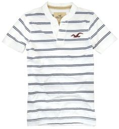 Hollister Mens Preppy Stripe S/S Henley Shirt, Navy Stripe