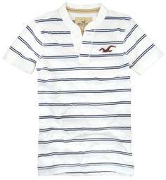 Hollister Mens Preppy Stripe S/S Henley Shirt, Navy Stripe