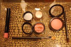 MAC favorites: K-Wow lipglass, Rubenesque paint pot, Caribbean mineralize eye shadow, Dainty mineralize blush, Teddy kohl eyeliner