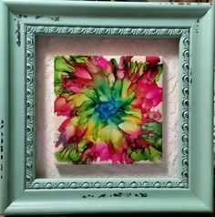 Framed tile in alcohol ink by tina