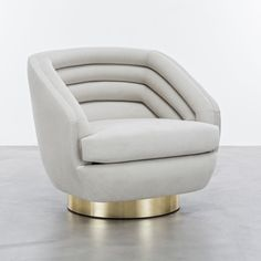 The Raoul Chair is a horizontally-channeled low club chair inspired by the fashion designs of Jean Paul Gaultier Haute Couture. The sexy lines, velvet upholstery and brushed brass details make one sophisticated, sexy club chair. Deco Furniture, Furniture Styles, Sofa Furniture, Unique Furniture, Sofa Chair, Upholstered Chairs, Furniture Design, Swivel Club Chairs, Swivel Chair