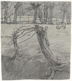 Richard Roland Holst | Weidelandschap met wilgen, Richard Roland Holst, 1878 - 1938 |