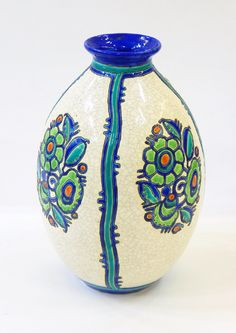 image Art Deco, Pottery Vase, Ceramic Pottery, Under The Hammer, Tom S, Dot Painting, Woodturning, Belgium, Clay
