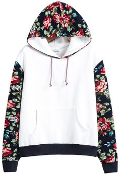 White Hooded Contrast Floral Loose Sweatshirt 21.67
