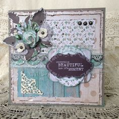 Card from the textured and layered card class taught at Bella Paperie. Blue Bay range from Kaisercraft