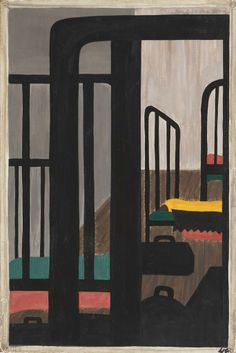 "Painting '#48 (of 60). Housing for the Negroes was a very difficult problem.' from ""The Migration Series"" (1940-41) by American artist Jacob Lawrence (1917-2000). via Black Fabulousity"