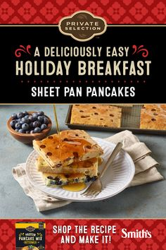 Sheet Pan Pancakes A deliciously new take on golden, fluffy pancakes. Now you can feed the whole family a hearty pancake breakfast at the same time! Pancake Shop, Breakfast Pancakes, Pancakes And Waffles, Fluffy Pancakes, Breakfast Recipes, Pancake Recipes, Breakfast Ideas, Pancake Bar, Baked Pancakes