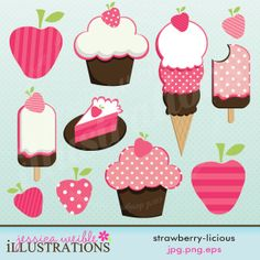 Strawberry licious Cute Digital Clipart for Card Design, Scrapbooking, and Web Design. $5.00, via Etsy.
