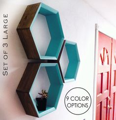 SALE Set of 3 Hexagon Shelves 16 Angle Edge by SuzyBDesigns in lieu of a mantel. Geometric Shelves, Honeycomb Shelves, Hexagon Wall Shelf, Etagere Design, Paint Brands, Teen Room Decor, Space Crafts, Do It Yourself Home, Shelving