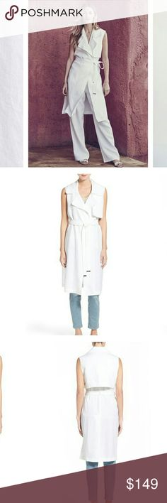 "Vince Camuto Sleeveless Trench Vest Vince Camuto Sleeveless Duster ? A lightweight layering piece cut from fresh white linen shows its trench inspiration with a wide notched collar, a draped gunflap that reaches around the back and a belt with gleaming metallic trim.  37"" long No closure Notched collar Sleeveless Unlined 100% linen.  Please check out my closet for other fabulous items  Reasonable offers welcome  Bundle and save   Bookmark my closet for new arrival and flash sale…"