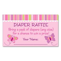 Shop Pink Butterfly Diaper Raffle Tickets Enclosure Card created by LittlePrintsParties. Baby Shower Supplies, Baby Shower Themes, Baby Shower Gifts, Shower Ideas, Butterfly Baby Shower, Pink Butterfly, Pack Of Diapers, Diaper Raffle Tickets, Baby Shower Gender Reveal