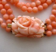 Angel Skin Pink Salmon Carved Coral Rose Beaded Triple Strand Necklace 36 8 G   eBay