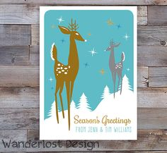 5x7 Vintage Inspired Mid Century Mod Deer Holiday Card