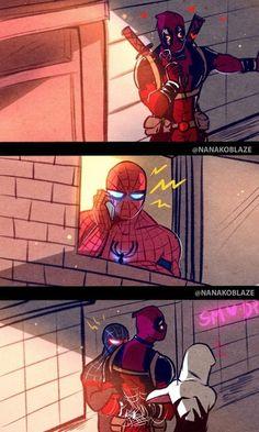 ˗ˏˋ Spideypool: Into The Spiderverse ˎˊ˗ Marvel Jokes, Marvel Dc Comics, Funny Marvel Memes, Dc Memes, Marvel Art, Marvel Heroes, Funny Comics, Marvel Avengers, Deadpool X Spiderman