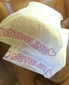 My super talented friend personalized simple pillowcases with pink vinyl using her cameo and heat press!  She left them ready for the girls to color in with some fabric markers or fabric crayons. So special!