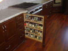 rev-a-shelf filler. slide out spice shelf Spice Shelf, Spice Drawer, Rev A Shelf, Spice Racks, Spice Rack Next To Stove, Random House, Kitchen Inspiration, Kitchen Ideas, Liquor Cabinet