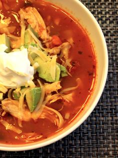 """One Pot Wonder: Chicken Tortilla Soup Delicious, healthy, and quick! Your dinner tonight."" Crockpot dorm recipe next year?"