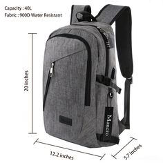 e90c9aa845 Amazon.com  Mancro Business Water Resistant Polyester Laptop Backpack with  USB Charging Port and