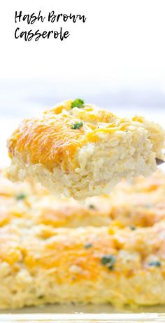 Hash Brown Casserole - - Hash Brown Casserole is a delicious side dish made with hash browns, onion, garlic powder, condensed soups, sour cream and cheddar cheese. Cheese Hashbrown Casserole, Loaded Baked Potato Casserole, Hash Brown Casserole, Casserole Recipes, Crockpot Recipes, Cooking Recipes, Appetizers For A Crowd, Food For A Crowd, Easy Family Meals