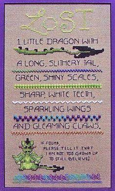 Dragon Cross Stitch Sampler Lost Dragon Cross Stitch Sampler - Item Detail for at Gryphon's MoonLost Dragon Cross Stitch Sampler - Item Detail for at Gryphon's Moon Dragon Cross Stitch, Cross Stitch Baby, Cross Stitch Samplers, Cross Stitching, Cross Stitch Embroidery, Cross Stitch Patterns, Beading Patterns, Embroidery Patterns, Dragon Dreaming
