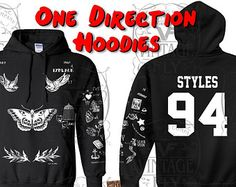 ONE DIRECTION Sweatshirt - HARRY STYLEs Tattoo Hoodie - One Direction - Sweater - Latest Updated 2015 - 1d -  In White, Black, & Grey s - 3x