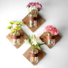 DIY Decoration  *** fill with a little potting soil, some herb seeds and attatch to a wall for fresh herbs year round!  will have to think of a holder that could allow the mason/jelly jars to be lifted out for easy use, yet stay secure so they won't get easily knocked over...