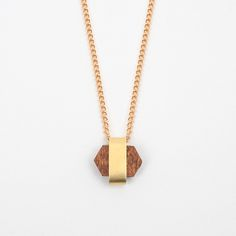 Little Orbit Necklace Wood & Brass<small><br /> by Wolf and Moon</small>