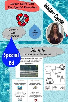 Water Cycle Unit for Special Education.  This 60 page was designed for students with special learning needs, especially autism. There are books, activities, and assessments. This material is appropriate for older elementary and middle/high school students in a special education setting.  Download at:  https://www.teacherspayteachers.com/Product/Water-Cycle-Unit-for-Special-Education-2132869