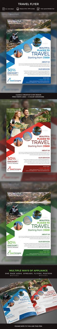 Travel  Tourism Flyer   Ai Illustrator Flyer Template And Tourism