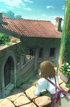 Tags: Anime, Apron, House, Scenery, Stairs, Village, Hand On Cheek