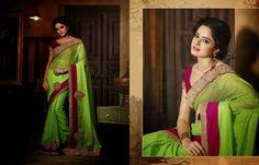 Net Taar Kam Cut Work Green Saree - PRG3355